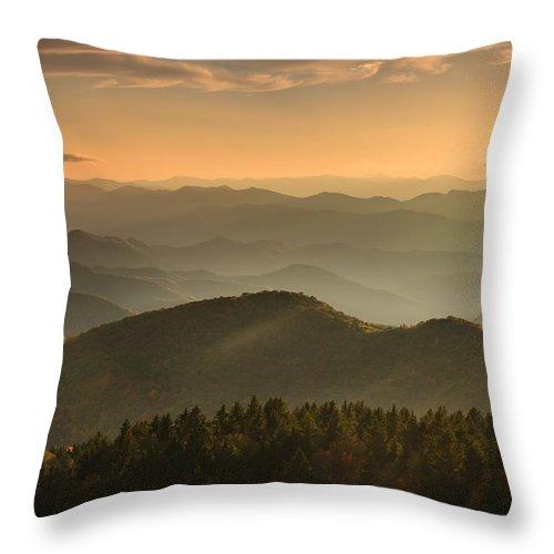 Sunrise Throw Pillow featuring the photograph Righteously - Blue Ridge Sunrise by Carol VanDyke