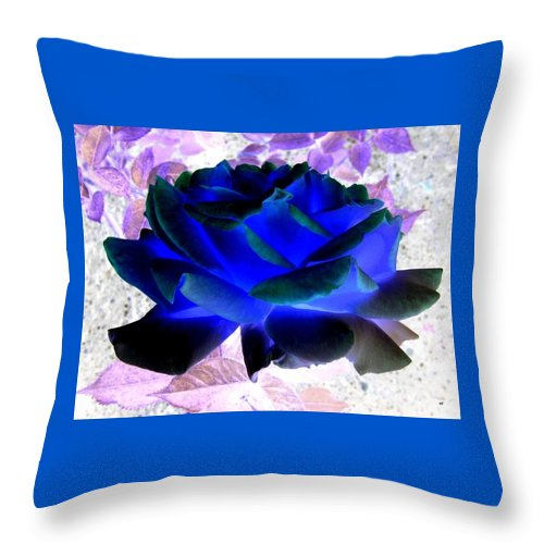 Blue Rose Throw Pillow featuring the digital art Blue Rose by Will Borden