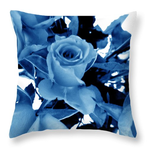 Blue Roses Throw Pillow featuring the digital art Blue Roses by Louise Grant