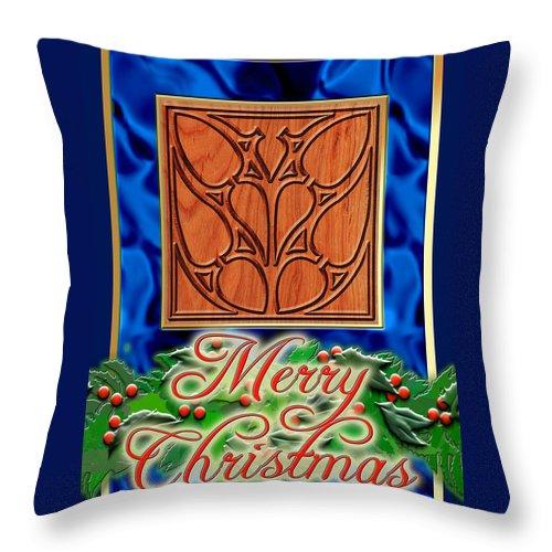 Christmas Throw Pillow featuring the digital art Blue Satin Merry Christmas by Melissa A Benson