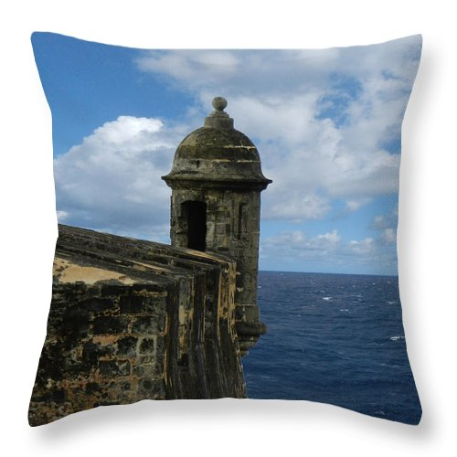 Military Fort Throw Pillow featuring the photograph Blue Skies On The Horizon by Sarah Lamoureux