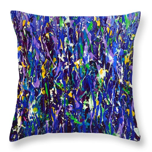Flowers Throw Pillow featuring the painting Blue Snapdragons by Alys Caviness-Gober