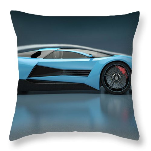 Aerodynamic Throw Pillow featuring the photograph Blue Sports Car In A Wind Tunnel by Mevans
