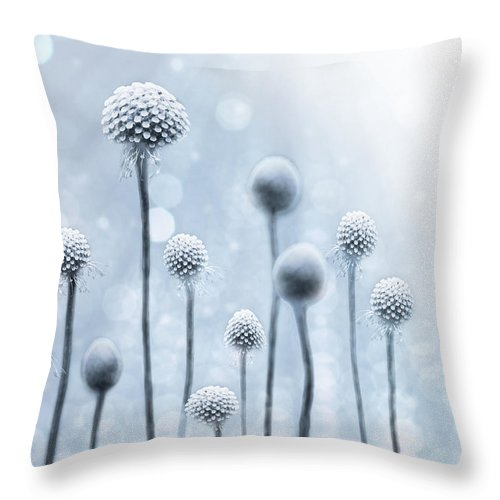 Abstract Throw Pillow featuring the photograph Blue Sunshine by Lisa Knechtel