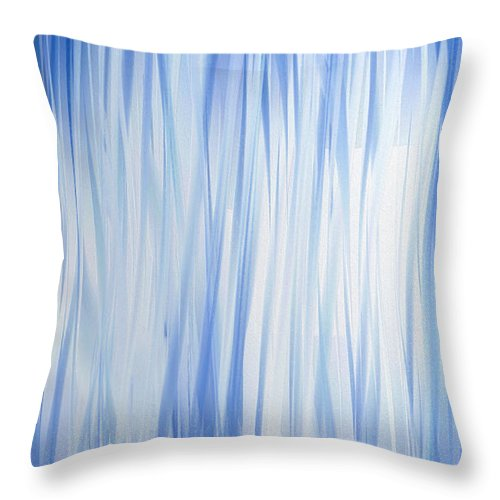 Abstract Throw Pillow featuring the digital art Blue Swoops Vertical Abstract by Andee Design