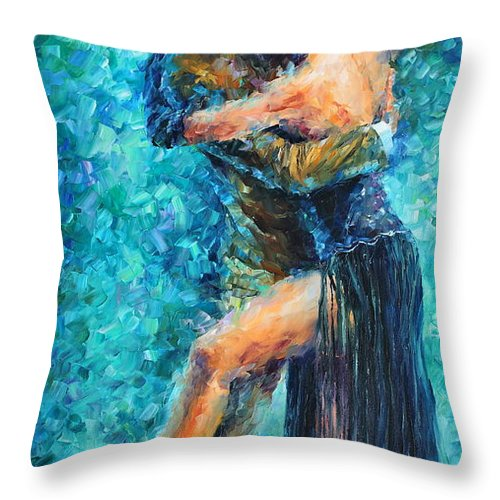 Afremov Throw Pillow featuring the painting Blue Tango 2 by Leonid Afremov