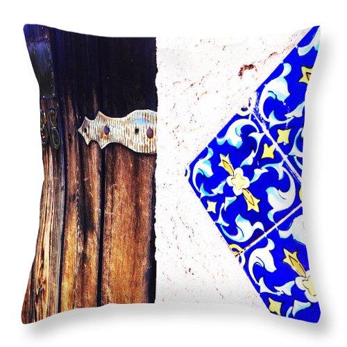 Door Throw Pillow featuring the photograph Blue Tile Brown Door 1 by Korynn Neil