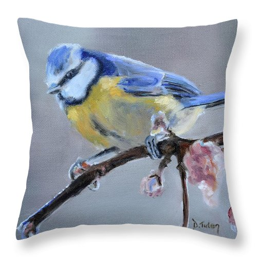 Blue Throw Pillow featuring the painting Blue Tit And Blossoms by Donna Tuten