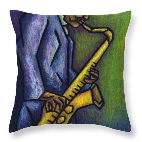 Blue Train Throw Pillow featuring the painting Blue Train by Kamil Swiatek