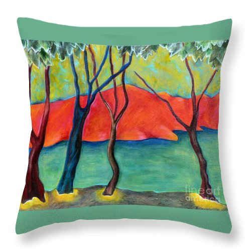 Landscape With Stylized Trees Throw Pillow featuring the painting Blue Tree 2 by Elizabeth Fontaine-Barr