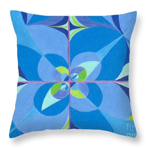 Color Throw Pillow featuring the drawing Blue Unity by Kim Sy Ok