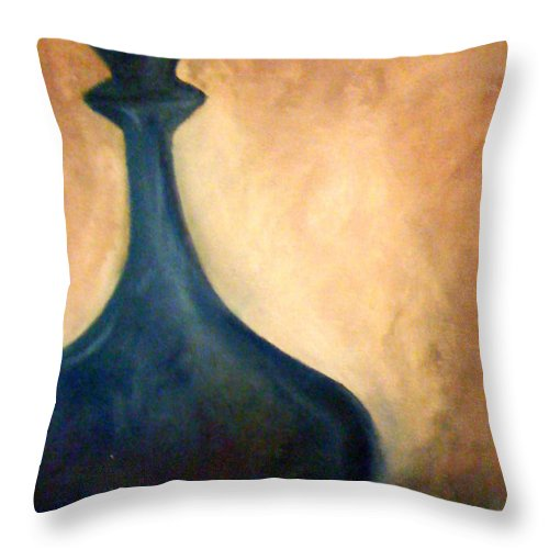 Blue Throw Pillow featuring the painting Blue Vase by Simonne Mina