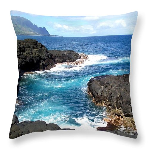 Sunset Throw Pillow featuring the photograph Blue Waters Of Queens Bath - Kauai Hawaii by Amy McDaniel