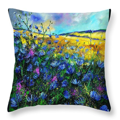 Flowers Throw Pillow featuring the painting Blue Wild Chicorees by Pol Ledent