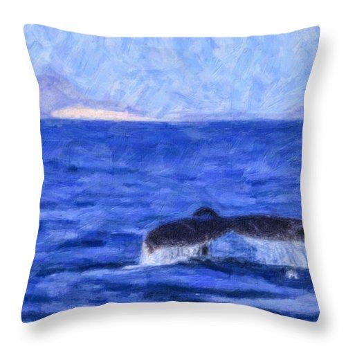 Megaptera Novaeangliae Throw Pillow featuring the digital art Blue Wilderness by Liz Leyden