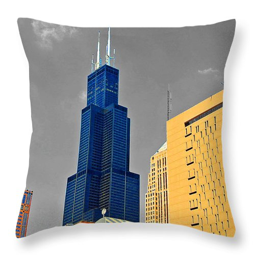 Willis Tower Throw Pillow featuring the photograph Blue Willis by Rick Selin