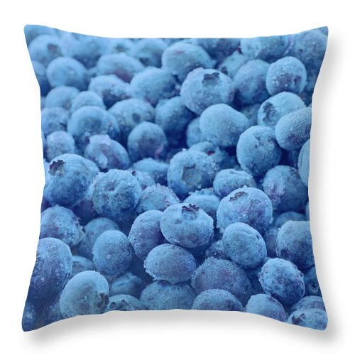 Berries Throw Pillow featuring the photograph Blueberries by Romulo Yanes