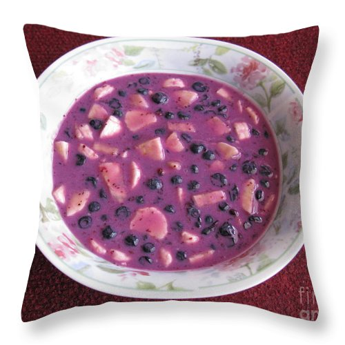 Blueberry Throw Pillow featuring the photograph Blueberry And Banana Soup by Ausra Huntington nee Paulauskaite