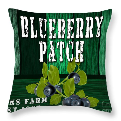 Blueberries Photographs Mixed Media Throw Pillow featuring the mixed media Blueberry Farm by Marvin Blaine