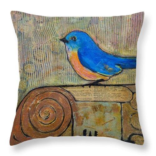 Bluebird Throw Pillow featuring the painting Bluebird Art - Knowledge Is Key by Blenda Studio