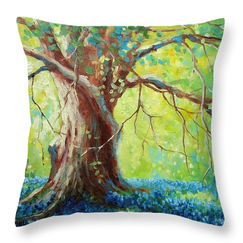 Bluebonnets Throw Pillow featuring the painting Bluebonnets Under The Oak by David G Paul