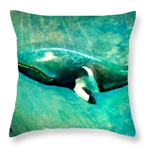 Whales Throw Pillow featuring the painting Blueish by Marcello Cicchini