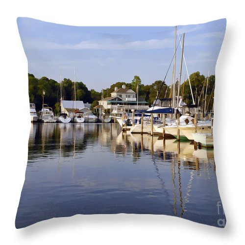 Landscape Throw Pillow featuring the photograph Bluer Than Blue  Painted by Sami Martin