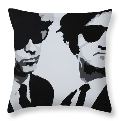 Blues Brothers Throw Pillow featuring the painting Blues Brothers by Katharina Filus
