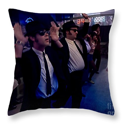 Blues Paintings Throw Pillow featuring the mixed media Blues Brothers by Marvin Blaine
