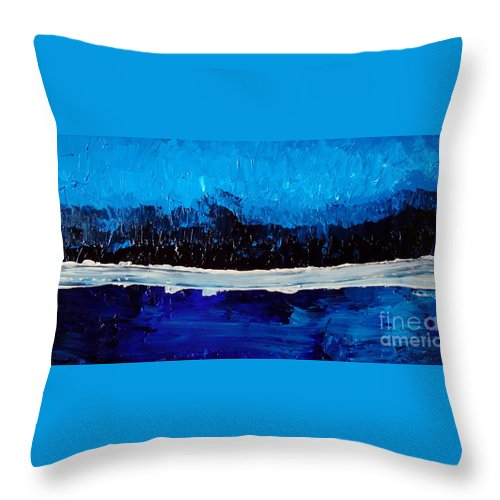Blue Throw Pillow featuring the painting Blues by Holly Picano