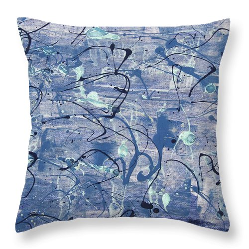 Abstract Throw Pillow featuring the painting Blues by Laura Lane