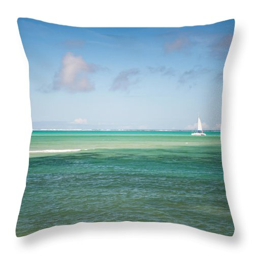 Ocean Throw Pillow featuring the photograph Blues. Mauritius by Jenny Rainbow