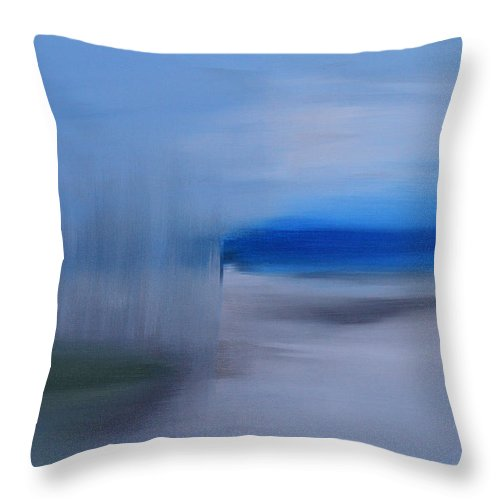 Modern Throw Pillow featuring the painting Blurring The Lines Of Reality by Donna Blackhall