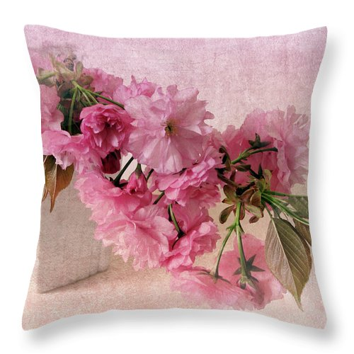 Flowers Throw Pillow featuring the photograph Cherry Blossom Still Life by Jessica Jenney