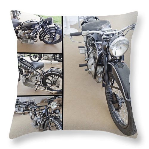 Bmw Throw Pillow featuring the photograph Bmw Art Deco Bikes by Maj Seda