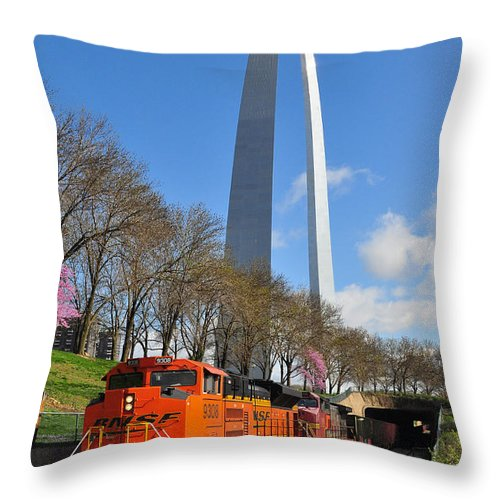 Railroad Throw Pillow featuring the photograph Bnsf Ore Train And St. Louis Gateway Arch by Matthew Chapman