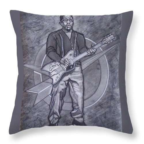Texas;charcoal;king Of Rock;rock And Roll;music;1950s;blues;musician;funk;electric Guitar;marble;soul Throw Pillow featuring the drawing Bo Diddley - Have Guitar Will Travel by Sean Connolly