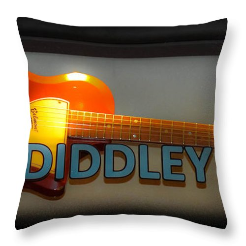Bo Diddley Throw Pillow featuring the photograph Bo Diddley's Guitar by Gary Keesler