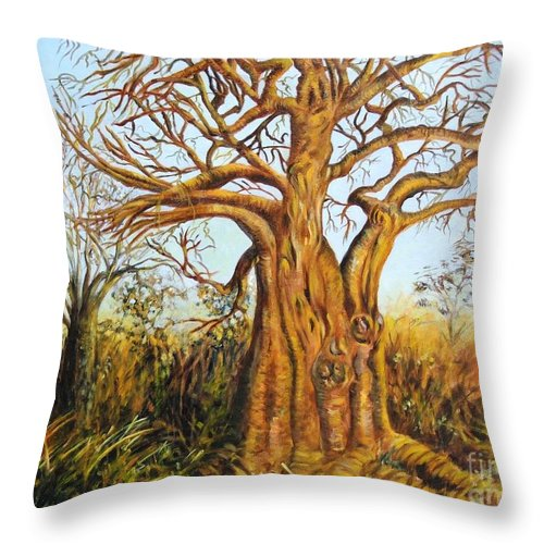 Trees Throw Pillow featuring the painting Baobab Tree by Caroline Street