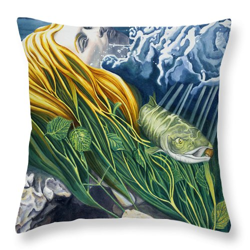 Boann Throw Pillow featuring the painting Boann Transformation Of A Goddess by Antony Galbraith