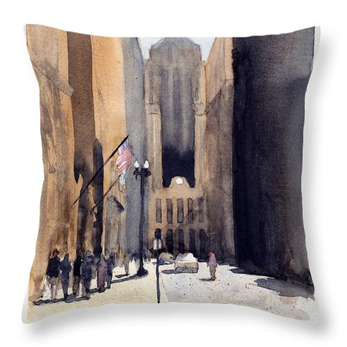 Chicago Throw Pillow featuring the painting Board Of Trade by Max Good