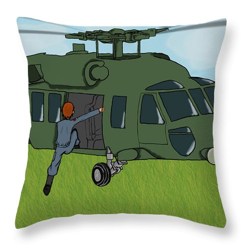 Helicopter Throw Pillow featuring the digital art Boarding A Helicopter by Yael Rosen