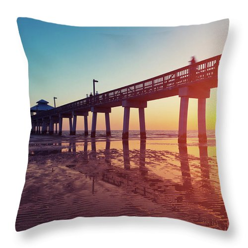 Water's Edge Throw Pillow featuring the photograph Boardwalk At Sunset While The Sun by Moreiso