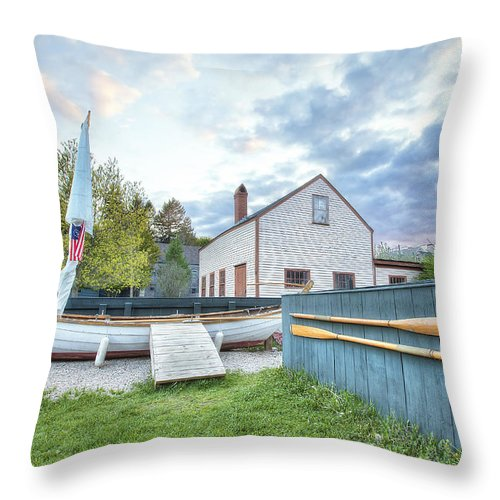 Boat And Oars Throw Pillow featuring the photograph Boat And Oars by Eric Gendron