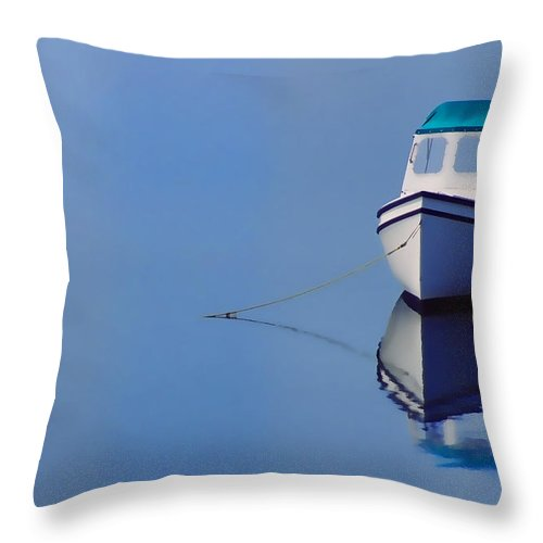 Water Throw Pillow featuring the photograph Boat And Red Bouy by Glen Wilkerson