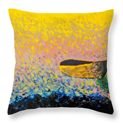 Landscape Throw Pillow featuring the painting Boat by Andrew Petras