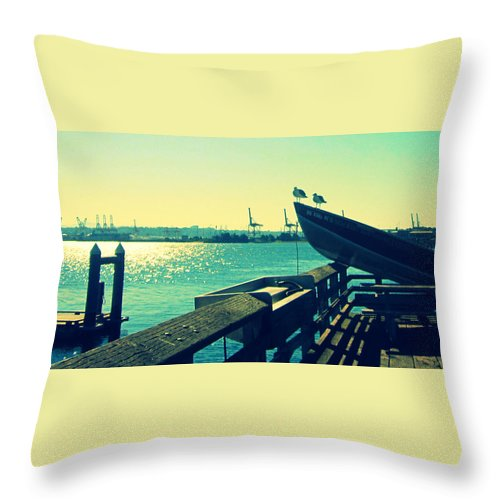 Boat Throw Pillow featuring the photograph Boat At Alki Beach by Kazumi Whitemoon