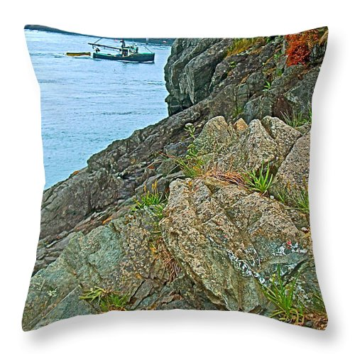 Boat By East Quoddy Bay On Campobello Island Throw Pillow featuring the photograph Boat By East Quoddy Bay On Campobello Island-nb by Ruth Hager