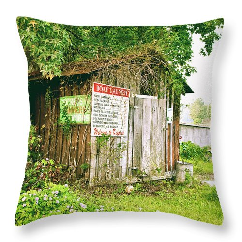 Outhouse Throw Pillow featuring the photograph Boat Launch Outhouse - Texture Bw by Scott Pellegrin