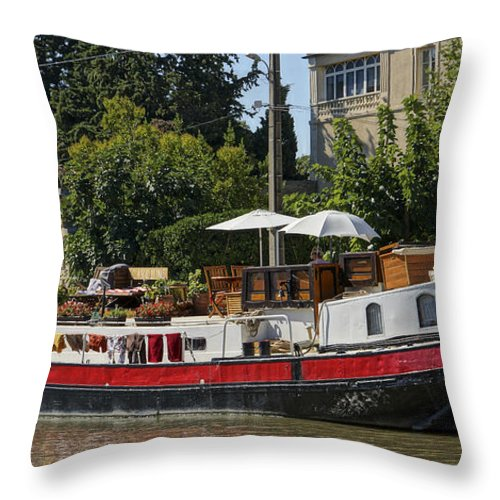 Canal Du Midi Throw Pillow featuring the photograph Boat On Canal Du Midi Homps France Dsc01717 by Greg Kluempers